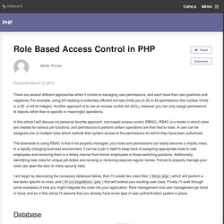 Role Based Access Control in PHP