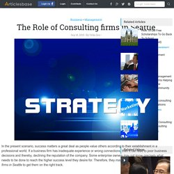 The Role of Consulting firms in Seattle