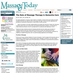 The Role of Massage Therapy in Dementia Care