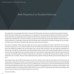 Role Played by Car Accident Attorney