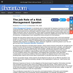 The Job Role of a Risk Management Speaker