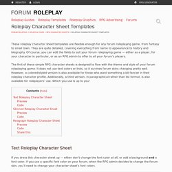 Free Roleplay Character Sheet Templates