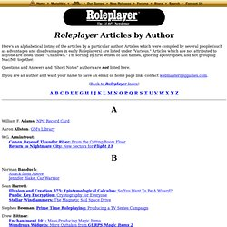 List of Roleplayer Articles by Author