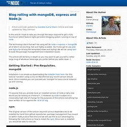Blog rolling with mongoDB, express and Node.js