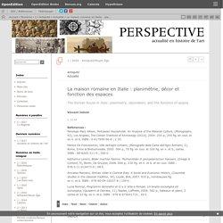 La maison romaine en Italie: planimétrie, décor et fonction des espaces