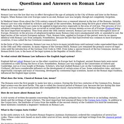 Roman Law: Questions and Answers