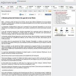 L'Ukraine privée de Crimée et du gaz de la mer Noire