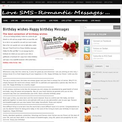 Love SMS - Romantic SMS Messages : Birthday wishes-Happy birthday Messages