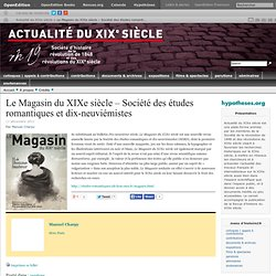 Le Magasin du XIXe siècle – Société des études romantiques et dix-neuviémistes