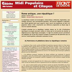Rome antique, une république ?