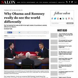 Why Obama and Romney really do see the world differently