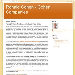 Ronald Cohen, The Green Initiative in Real Estate