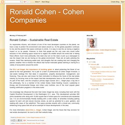 Ronald Cohen - Cohen Companies: Ronald Cohen – Sustainable Real Estate