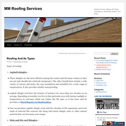 Roofing And Its Types