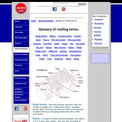 Roofing - a glossary of terms associated with home roofing