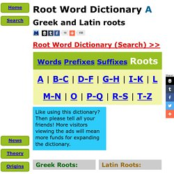 Root Word Dictionary - A