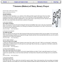 Seven Sorrows Seven Dolors of Mary Servite Rosary Chaplet, Prayer