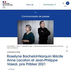 Roselyne Bachelot-Narquin félicite Anne Lacaton et Jean-Philippe Vassal, prix Pritzker 2021