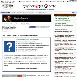 Coaching to increase teacher effectiveness