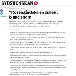 """""""Rosengårdska en dialekt bland andra"""""""