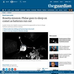 Rosetta mission: Philae goes to sleep on comet as batteries run out