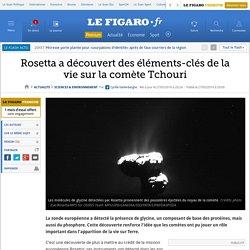Rosetta a découvert des éléments-clés de la vie sur la comète Tchouri