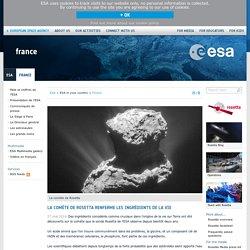 La comète de Rosetta renferme les ingrédients de la vie / France