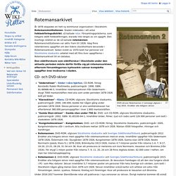 Rotemansarkivet - Wiki-Rötter