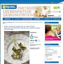 Petits rouleaux d'aubergine au chèvre frais, tapenade et ciboulette - recette facile bio - Bjorg.fr