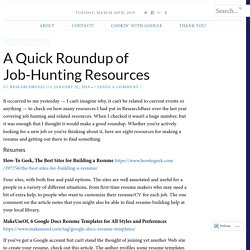 A Quick Roundup of Job-Hunting Resources