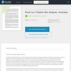 Essai sur l'origine des langues, rousseau - Rapports de Stage - Thedreamer0728