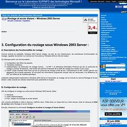 Routage et accès distant – Windows 2003 Server