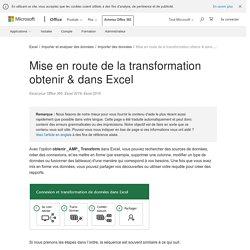 Mise en route de la transformation obtenir & dans Excel