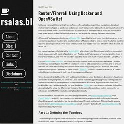 Router/Firewall Using Docker and OpenVSwitch