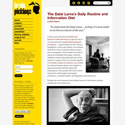 The Dalai Lama's Daily Routine and Information Diet