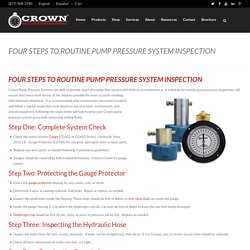Four Steps to Routine Pump Pressure Inspection