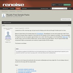 Royalty Free Sample Packs - Tips & Tricks - Renoise Forums