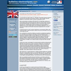 09/19> BE Royaume-Uni111> Communication par lumière visible : après le Wi-Fi, le Li-Fi