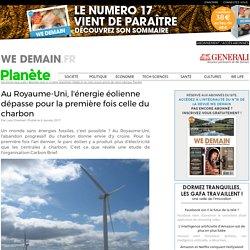 Au Royaume-Uni, l'énergie éolienne dépasse pour la première fois celle du charbon