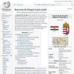 Royaume de Hongrie (1920-1946)