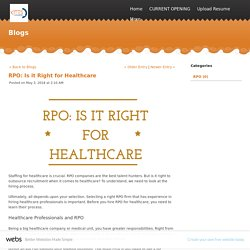 RPO: Is it Right for Healthcare