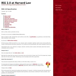 RSS 2.0 at Harvard Law
