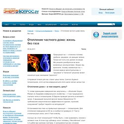 Отопление частного дома: жизнь безгаза - Тепло - Статьи и исследования - ЭнергоВОПРОС.ru