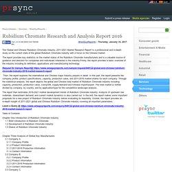Rubidium Chromate Research and Analysis Report 2016