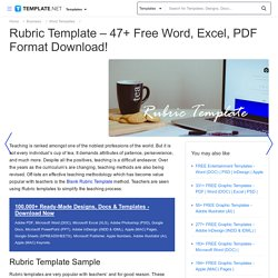 Rubric Template - 47+ Free Word, Excel, PDF Format