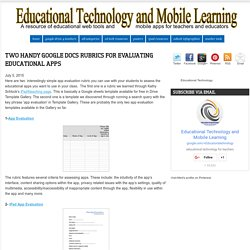 Two Handy Google Docs Rubrics for Evaluating Educational Apps