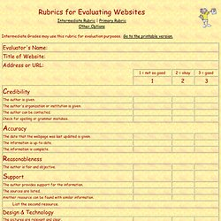 Rubrics for Evaluation Websites