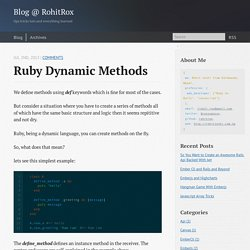Ruby Dynamic Methods - Blog @ RohitRox