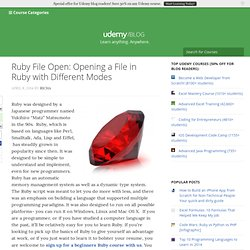 Ruby Open: Opening a File in Ruby with Different Modes