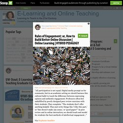 Rules of Engagement; or, How to Build Better Online Discussion | Online Learning | HYBRID PEDAGOGY | E-Learning and Online Teaching